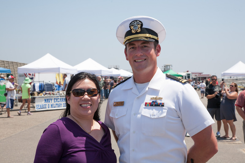 Lydia with 1st Lieutenant from USS Benfold