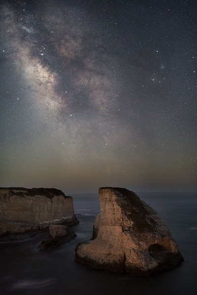 The Milky Way over Shark Fin Cove, Davenport, CA