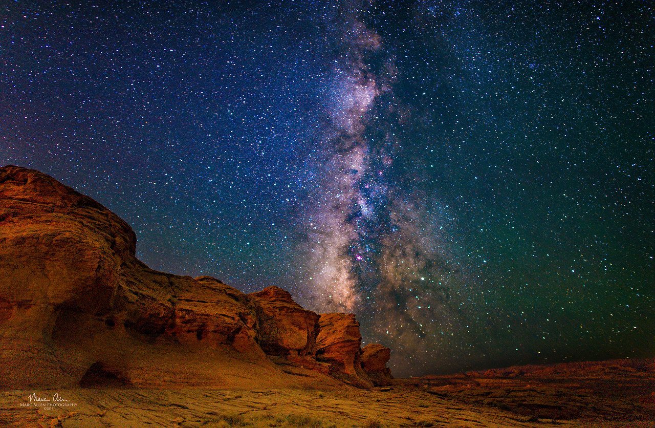 This rock formation is about a half mile past the Glen Canyon Dam, outside Page, Arizona.  Pictured with Milky Way in background at about 2:45 AM, July 3, 2017.