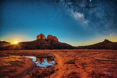 Milky Way and Moon Rising