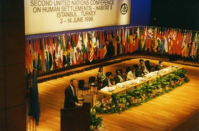 96 Istanbul, Turkey - Millard Fuller addresses United Nations Habitat. lf