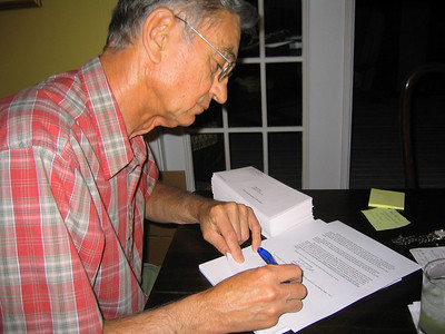 2005 August - Millard personalizing hundreds of letters. lcf