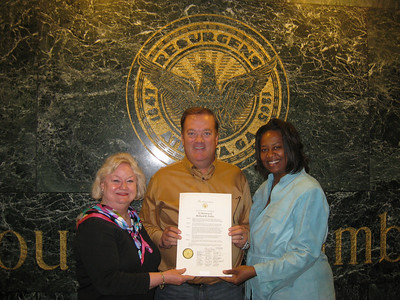 09 04-20 L-R: Jackie Goodman, Mark Galey and Dorothea Norman, members of Greater Atlanta Fuller Center, holding Resolution presented minutes before by Atlanta City Council.
