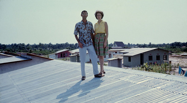 1975 - Millard and Linda Fuller pictured on a roof in Zaire.