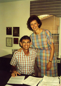 1988 - Millard and Linda in Millard's office at Habitat & W. Church streets headquarters. Later named the Clarence Jordan Center in memory of 30th anniversary of Clarence Jordan's death.