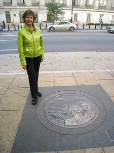 10 10-01 Linda Fuller at Points of Light Extra Mile Pathway sidewalk medallion.