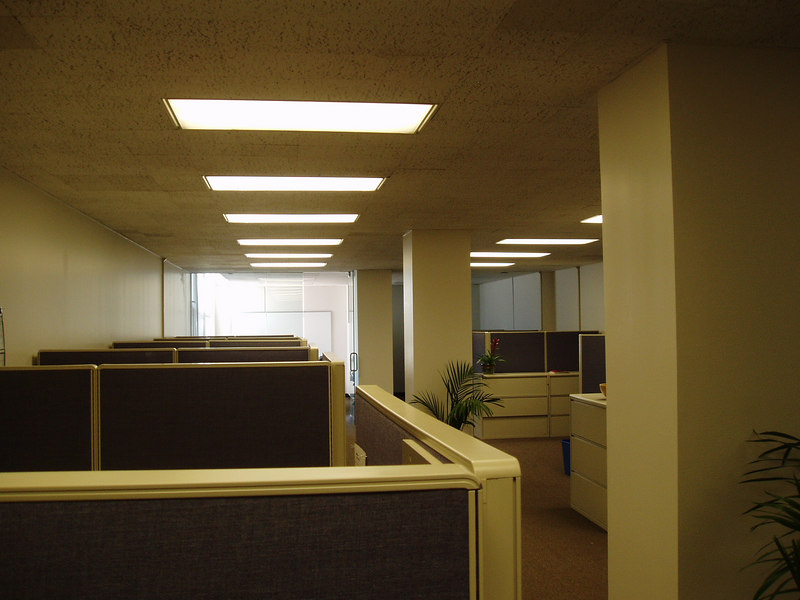 This is my new office in San Francisco. Taken from the entrance. There are about a total of 16 cubicles.