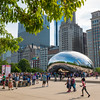 Cloud Gate cloudgate the bean public art sculpture in Millennium Park summer tourists