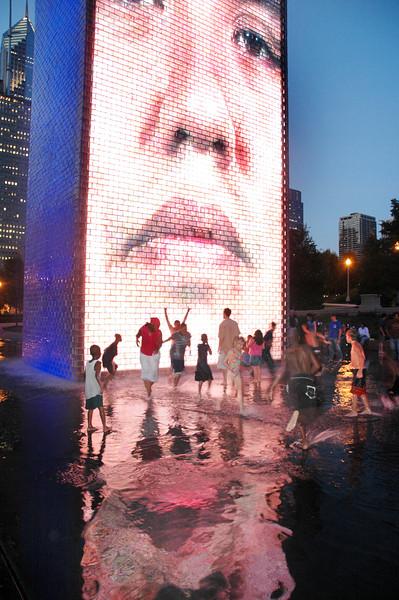 Crown Fountain in Millennium Park at dusk