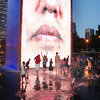 Crown Fountain in Millennium Park at dusk