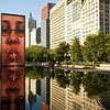 Crown Fountain in Millennium Park with water reflecting buildings
