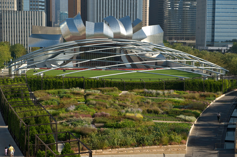 View of the Lurie Garden and Millennium Park from the modern wing of the Art Institute of Chicago