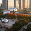 Sunrise during fall aerial Millennium Park with Cloud Gate and Pritzker Pavilion