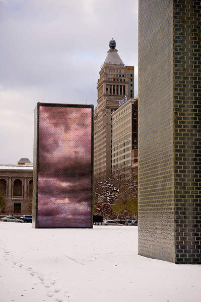Crown Fountain at Millennium Park in Winter