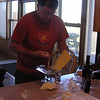 Jim making his famous home made pasta with Alfredo sauce.