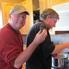 Jim and Henry preparing the clams.