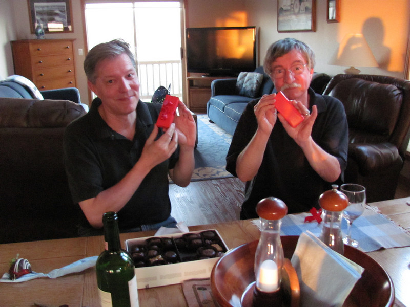 Henry and Steve opening matching Swiss Army knife birthday gifts from Jim.