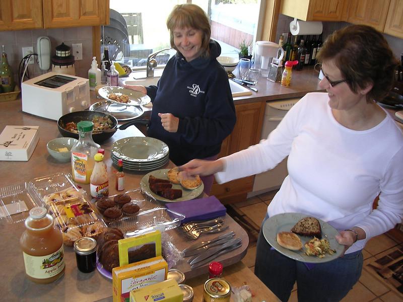 Jan and Kay enjoying a breakfast buffet.