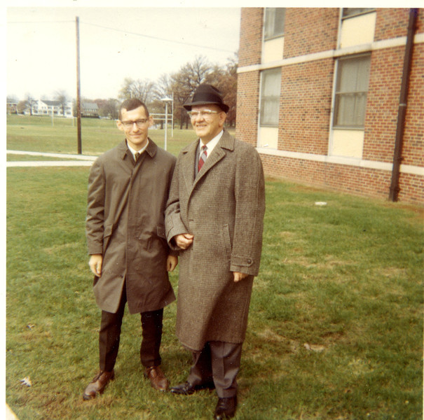 William A. Shaffer and G. A. Shaffer.  My Dad is wearing a borrowed overcoat.  Someone at Westminster Presbyterian Church took his coat out of the cloakroom and Dad was left without a coat.  A Congregation Member was kind enough to loan him the coat shown!
