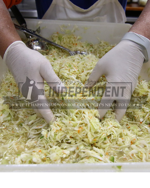 Freshly tossed cole slaw at the Millstadt Quail club.