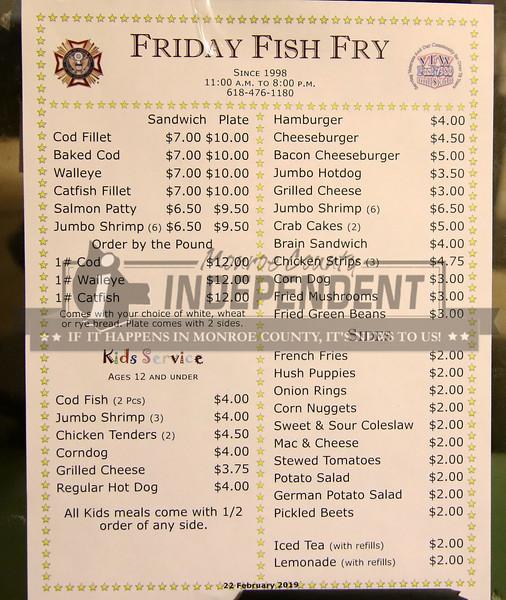 The VFW Post 7980 in Millstadt menu for Lenten fish.