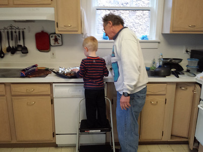 Making chicken for dinner with Grandpop