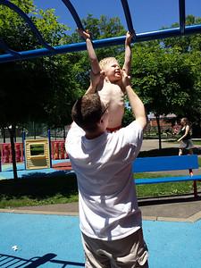 swinging on the ladder