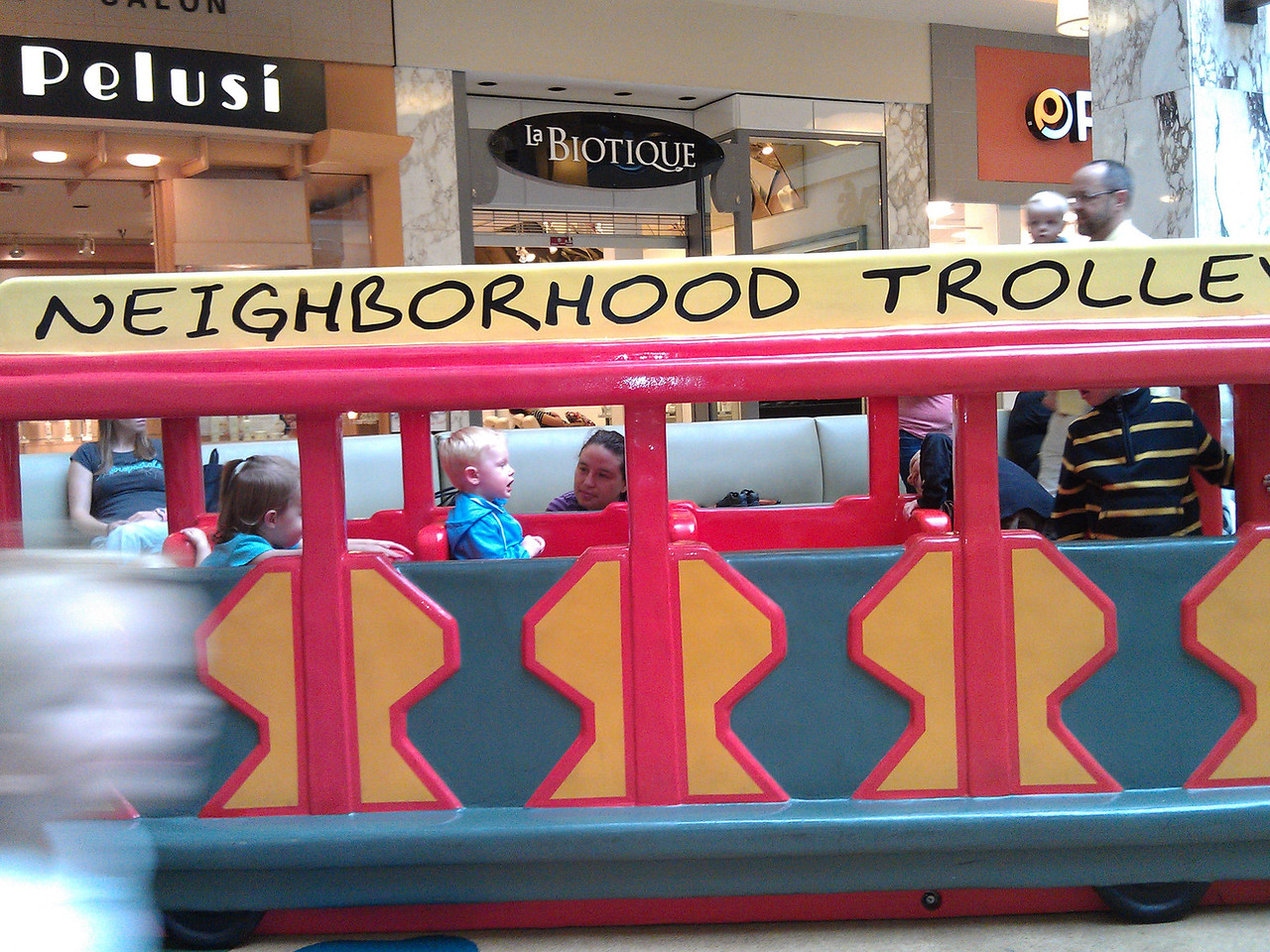 Mr. Rogers' neighborhood trolley at the mall