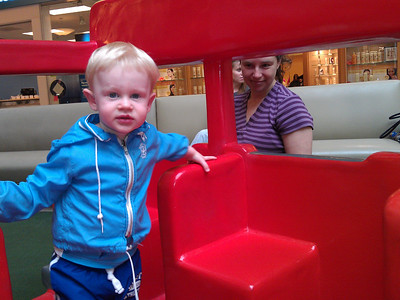 Milo & Mommy at the trolley in the mall