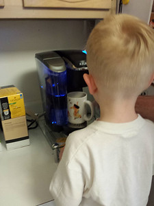 Making coffee for Grandpop