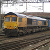 66717 heads south through Northampton on 4L20 Hams Hall - Parkeston Quay liner on 16th March 2013