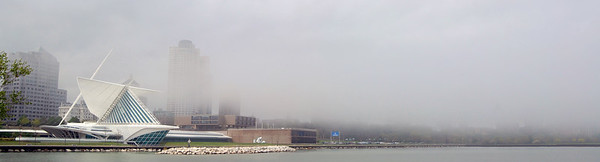 After days and days of dismal.  The fog begins to lift over Milwaukee's lakefront.  May 2010