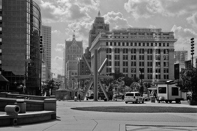 Milwaukee Cityscape on Black and White 35mm Film Photograph 138