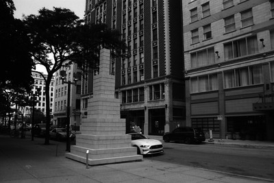 Milwaukee Cityscape on Black and White 35mm Film Photograph 70