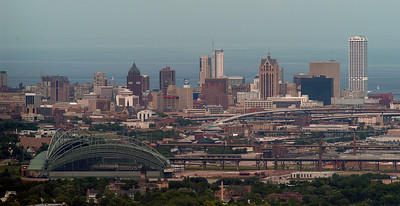 Milwaukee skyline including Miller Park 2008