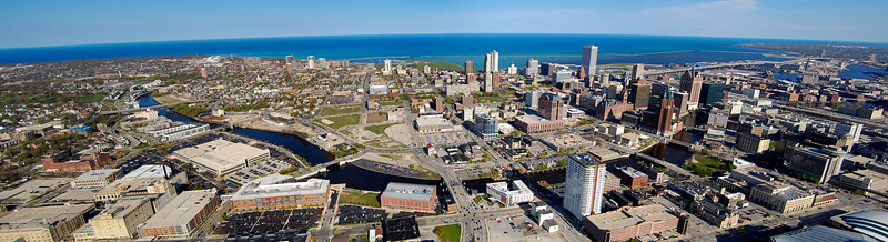 A three picture stitch from about 700 ft in the air. Milwaukee, Wisconsin April 24, 2012.