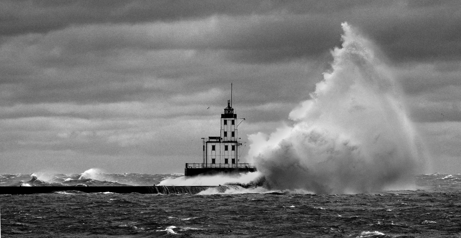 Milwaukee's Breakwater Lighthouse November 29,2011. This is what a 56 mph wind out of the NE can do.