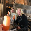 """The sisters sip their carrot bellinis at the """"Benefits of Bubbles"""" workshop."""