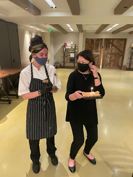 """Chef Beatrice Blais made a special cake for birthday girl Donna Forlizzi of Topsfield who attended the """"Just Cook for Me"""" workshop."""