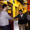 Sophomore SGA canidate Matt Mindrup and freshman in engineering Carter Fritze greet each other at the launch party at Fuzzy's on Feb. 03, 2017. (Kelly Pham | The Collegian)