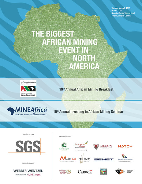 Program for The Canada-Africa Chamber of Business African Mining Breakfast and MineAfrica's Investing in African Mining Seminar