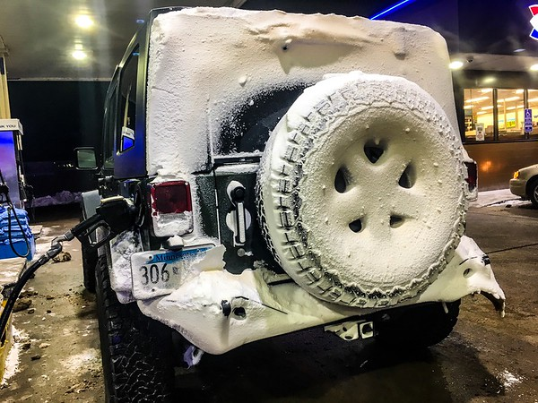 Just the back was caked in snow like this
