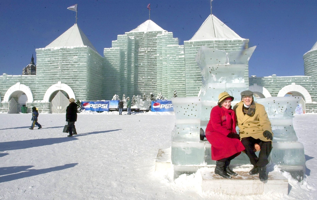 . Apparently some people believe the Ice Palace isn\'t all it was cracked up to be. Eileen and Jerry Berger, White Bear Lake, sit on a throne to have their picture taken in front of the Ice Palace, which they thought was wonderful, on Feb. 3, 2004. (Pioneer Press File)