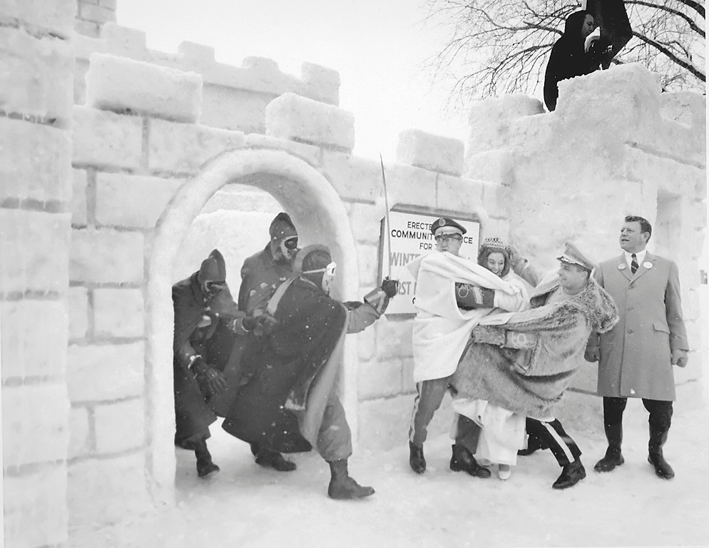 . The Vulcans come out of the castle as the King and Queen arrive at the Winter Carnival Ice Palace in 1969. (Pioneer Press File)
