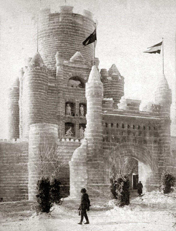 . The 1888 ice palace, located in St. Paul\'s Central Park, used 55,000 blocks of ice and cost $12,500. (Pioneer Press file photo)