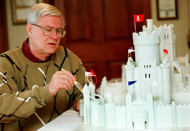 . Bill Schwietz, Stillwater, works on a 1/8 inch to one foot replica of the 1888 Winter Carnival Ice Palace in Jan. 1999. The model is made of foam board with meticulously carved detail. Schwietz has made replicas of all twelve of the Ice Palaces from the 1886 palace that stood in Central Park near the State Capitol to the 1992 Ice Palace on Harriet Island. (Pioneer Press: Craig Borck)