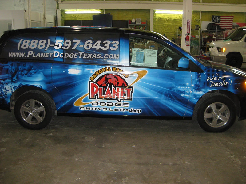 "Van Wrap for Randall Reed's Planet Dodge in Dallas, TX  <a href=""http://www.skinzwraps.com"">http://www.skinzwraps.com</a>"