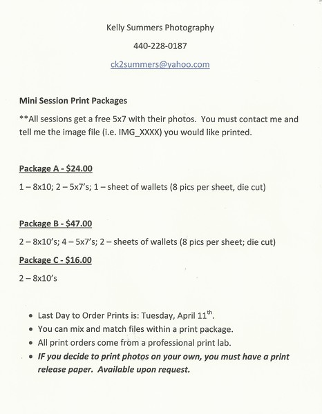 Print Package prices