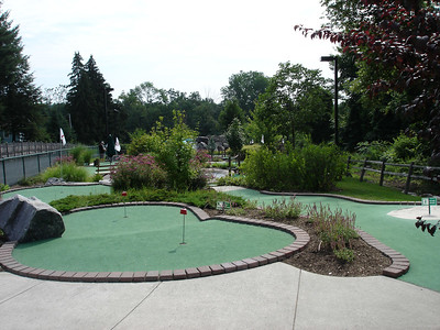 Lumberjack Mini golf course is definitely better suited for nighttime play as there is simply no shade to be had.