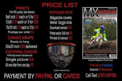 2016 price list